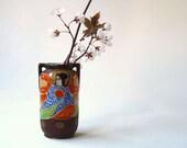 Satsuma ware Vase,  moriage, Made in Japan