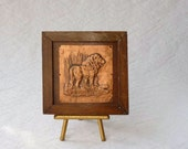 Copper Lion Wall Decor, Wooden frame