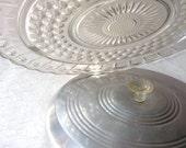 Vintage cake saver,pressed glass cake plate and aluminum lid