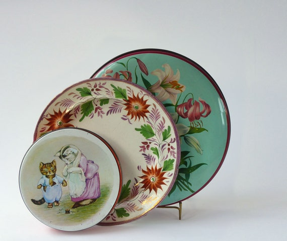 Choose one of three,1950s English Biscuit tins and hand painted plate, Huntley and Palmer, William Crawford, aqua , pink, magenta