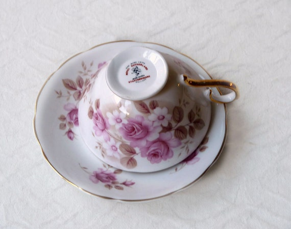 Royal Sutherland Pink Roses Cup and Saucer, Staffordshire Bone China