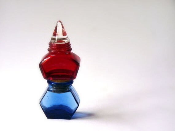 Cobalt and ruby glass bottles, vintage inkwells with stoppers