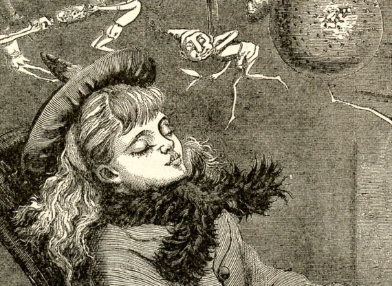 Victorian Girl Sleeping while the Wicked Fire Goblins play, dream or nightmare