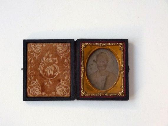 Ambrotype in case, Civil War Era, glass photographic plate