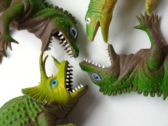 Green dinosaurs, raptors, tyrannosaurus,stegosaurus, 1980s lot of four