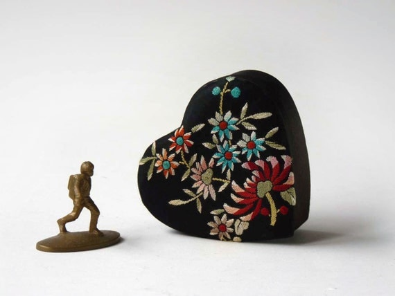 Embroidered heart box, black silk, Chrysanthemums