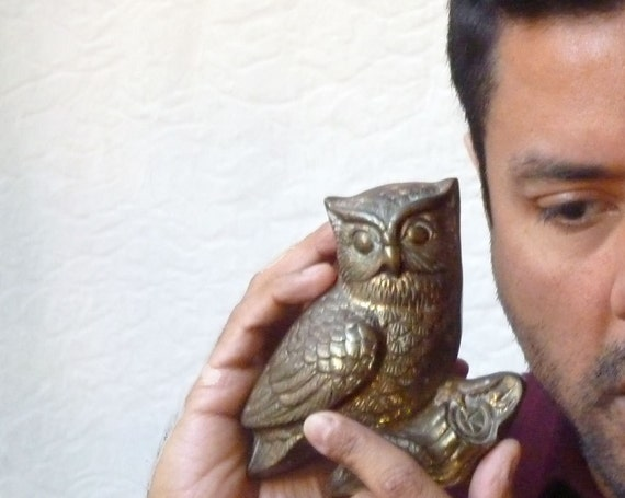 Brass Owl Paperweight, Vintage Home Decor