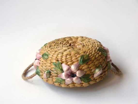 Raffia flower basket, island vacation souvenir