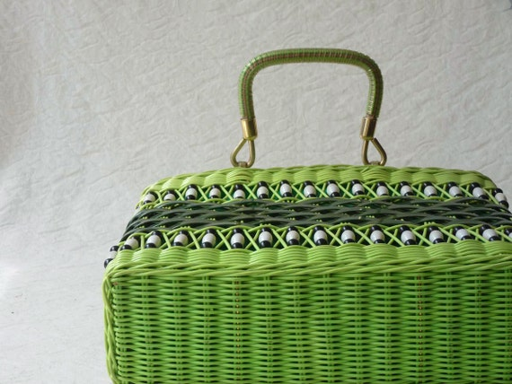 Green plastic purse, 1970s neon lime retro straw purse made in Hong Kong