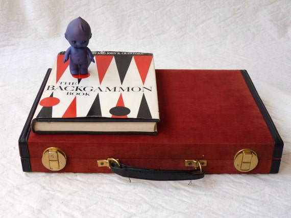 Backgammon Game in Deluxe Red Corduroy Case with Book