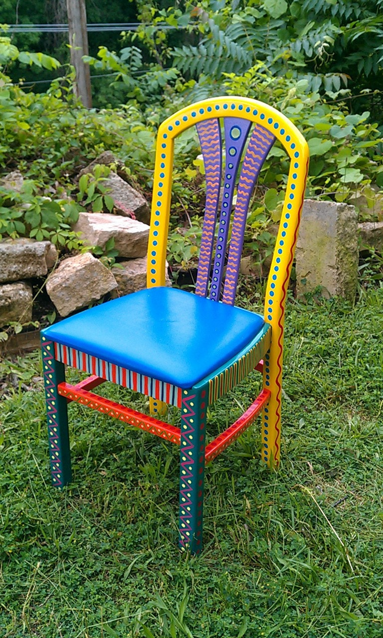 hand painted furniture chair colorful crazy yellow back free