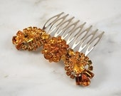 Stunning Amber Rhinestone Vintage Hair Brooch Comb, Art Deco Bridal Hair Comb, Wedding Hair Comb - One of a Kind and Ready to Ship