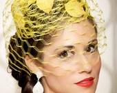 Yellow Garden Wedding Hat Bridal Head Piece Cocktail HatVeil Vintage Pillbox Hat Birdcage Veil - One of a Kind - ESTELLE