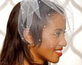 "SALE Ivory Bridal veil, tulle veil, blusher veil, Birdcage Veil With Pearls, Bird Cage, Wedding Veil, Pearl Veil, 12"" - Ready to ship"