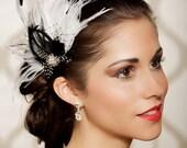 Black White Bridal Head Piece, Polka Dot, Feather Fascinator, Vintage Inspired, Pearls,  Rhinestone, Wedding Hair - Made to Order - SOPHIA