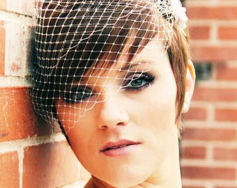 Wedding Veil, Bandeau Birdcage Veil, Russian Veil, Bird Cage Veil - Made to Order - Many Colors Available, QUICK SHIPPER