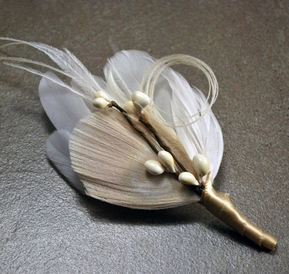Ivory White Champagne Peacock Boutonniere Buttonhole Corsage Woodland Elegant - The MICHAEL Boutonniere