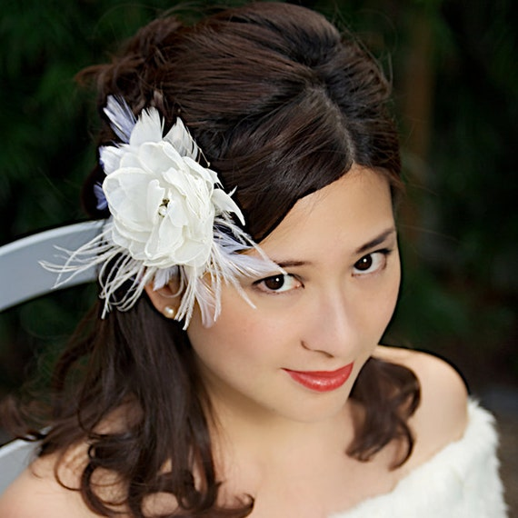 SALE Ivory Bridal Hair Flower Wedding Fascinator Hair Clip Bridal Hair Accessories - Ready to Ship - FRANCA