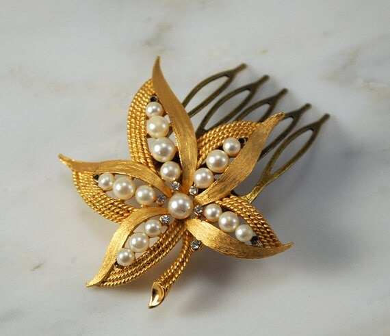 Gold Rhinestones and Pearls Hair Brooch Bridal Hair Comb Hair Jewelry - One of a Kind and Ready to Ship