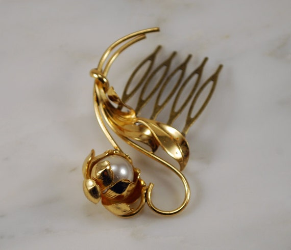 Gold and Pearl Flower Hair Brooch Bridal Hair Comb Hair Jewelry - One of a Kind and Ready to Ship
