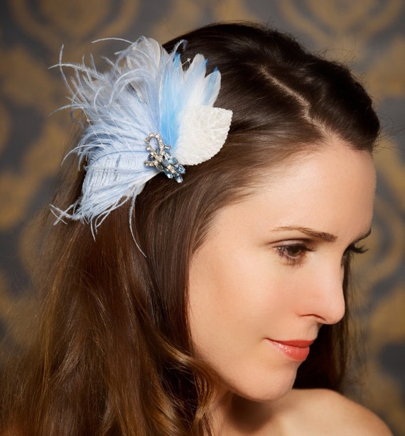 Blue Bridal Hair Clip Head Piece Wedding Fascinator Vintage Something Blue Hair Comb Bridal Hair Accessories - Ready to Ship - LAUREN