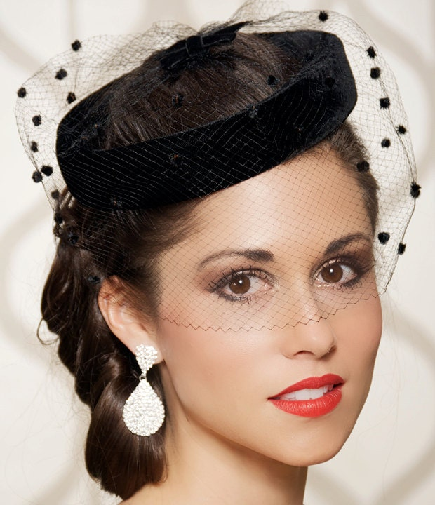 Vintage Wedding Hairstyles With Birdcage Veil: Birdcage Veil Black Wedding Hat Bridal Head Piece Cocktail
