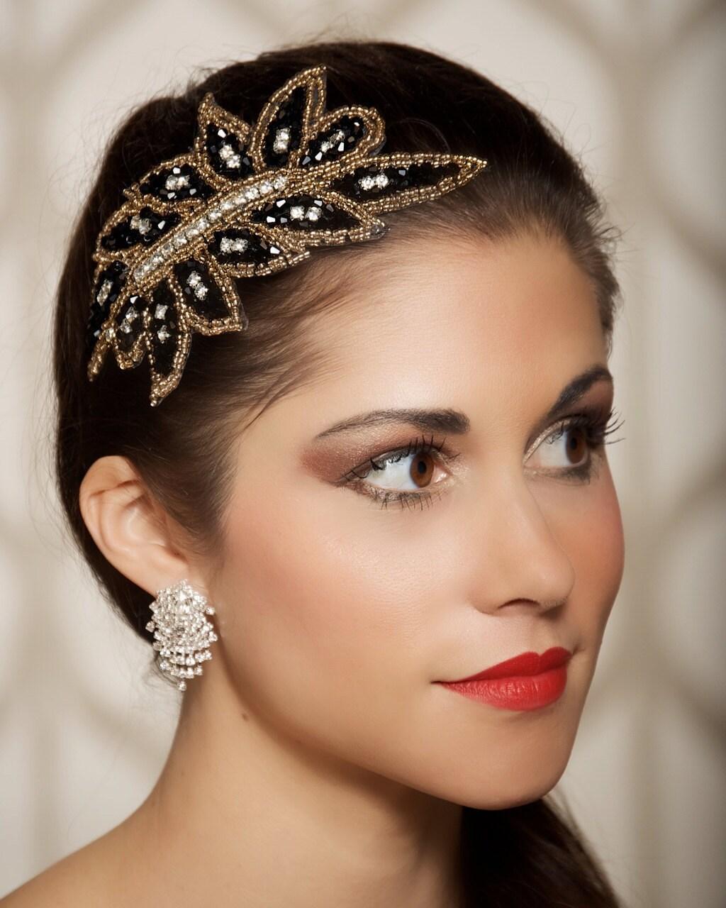 Crystal Wedding Headpieces: Gastby Party Headpiece Black Art Deco Hair By GildedShadows