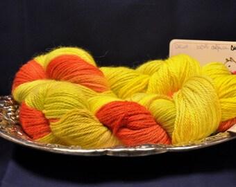 100% alpaca DK wt 220yds orange, yellow and chartruse yarn