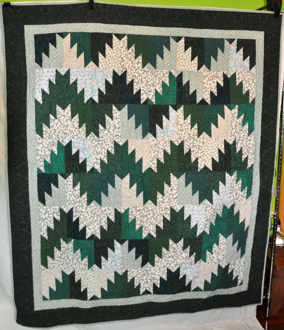 64 x 74 majestic green mountains quilt CLEARANCE