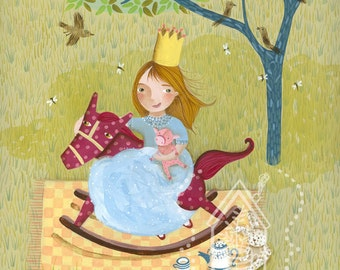 """Childrens artwork. Original fine art Children illustration. """"Playing in the backyard"""". Girl playing to be a princess in her Rocking horse."""