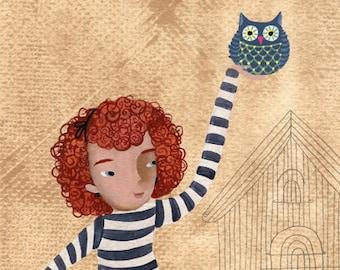 Original fine art, Children painting, Girl with owl cage, original paint for children, redish girl, children drawing original, nursery decor