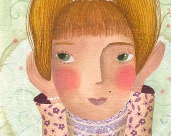 Original fine art. Childrens art illustration. Original painting for girls room decor. Blush princess. Original art painting. Lovely girl.