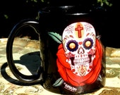 dia de los muertos skull and rose sublimation printed mug black