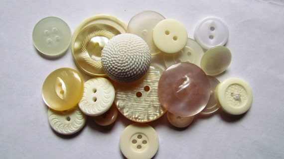 Vintage Mix of White Buttons - Set of 18