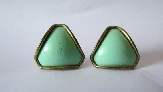Vintage 1980s Oversized Geometric Mint Green and Gold Earrings