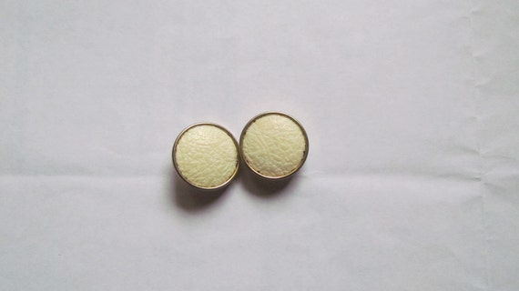 Vintage Cream Buttons, set of 2, Cream buttons with Gold