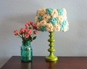 Lamp shade Crochet Aqua & Ivory Flowers Handmade One of a Kind Lampshade Inspired by Anthropologie