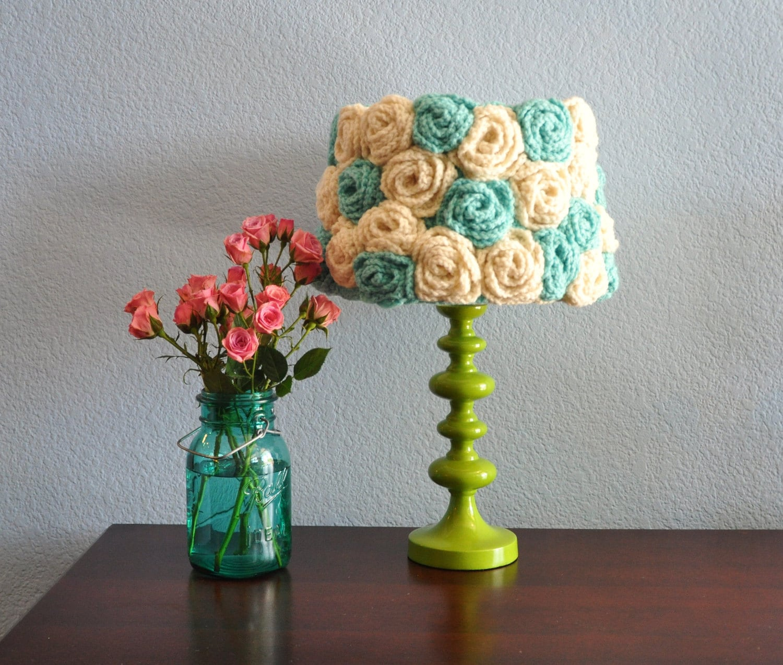 lamp shade crochet aqua ivory flowers handmade one of a kind. Black Bedroom Furniture Sets. Home Design Ideas