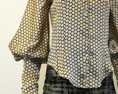 RESERVED Long Sleeved Blouse with Extra Long Cuffs in Polka Dot Charmeuse