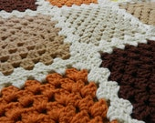 Caramel Chocolate Retro Granny Squares Blanket Ivory, Mustard, Orange Brown and Oatmeal 50 x 43 inch