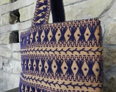 Vintage Burlap with Royal Purple Crewel Embroidery Use as Book Bag Small Grocery Bag or for Back to School