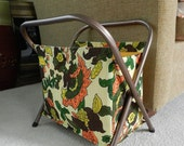 Retro 70s Foldable Knitting Bag Crafting or Sewing Basket with Aluminum Legs Floral Fabric Bag lined and with pockets