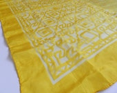 Vintage Bright Sunny Egg Yolk Yellow Abstract Greek Key Pattern Sheer Scarf