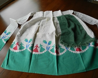 Go Dutch Green Red and White Floral Apron with One Pocket and Green Terry Cloth Dish Towel Sewn In
