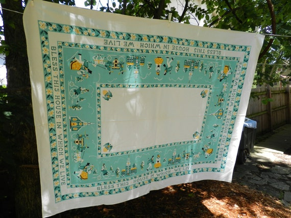 Vintage bless this house tablecloth with bright turquoise, white and yellow accents Great Hostess or Housewarming gift