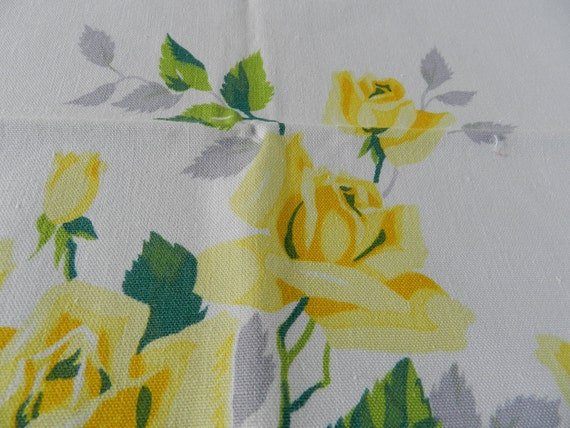 Yellow Roses Cotton tablecloth golden and bright great hostess gift could be Wilendur