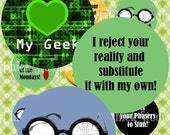 1 inch Circle Digital Collage Sheet Geek Sayings and Quotes