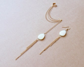 Mother of Pearl Leaf and Gold Chains Cuff Earrings (Pair)