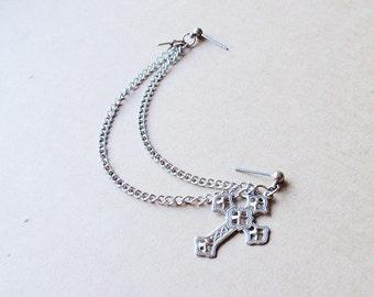 Silver Ornamental Cross Double Chain Double Pierce Earring (Single-Side)