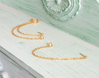 Gold Hearts Multiple Pierce Cartilage Cuff Earring (Pair)